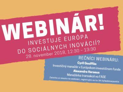 Pozývame vás na ďalší webinár! Financuje Európa sociálne inovácie?